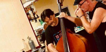 John on upright bass with Stuart in the Café du Canton during a thunderstorm