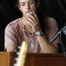 Jan taking a quiet moment at the keyboard
