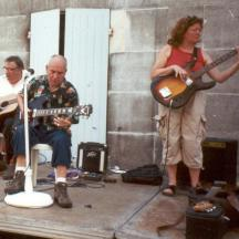 An early photo from the beginings of the Jam Session - Pete Boulter playing slide guitar with Sue on bass.