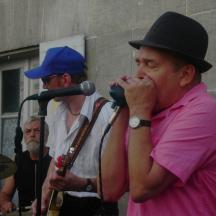 XO Cognac Blues Jam: Pete Boulter blowing his harp - Jo Berg on guitar.